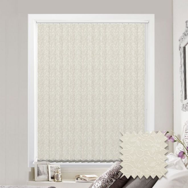White Vertical Blinds - Made to Measure vertical blind in Willow Pattern Cream - Just Blinds